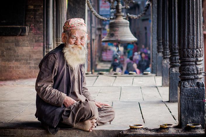 Vieil homme Newar - Bhaktapur, Népal