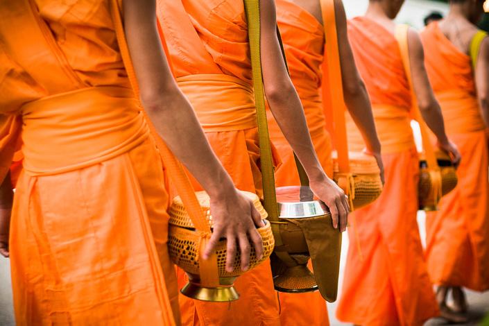 Rituel de l'aumône - Luang Prabang, Laos