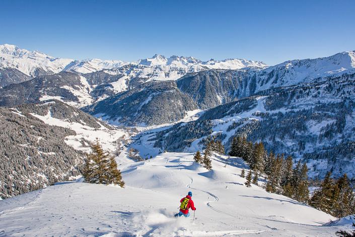 Freeride dans le Beaufortain. Savoie, France