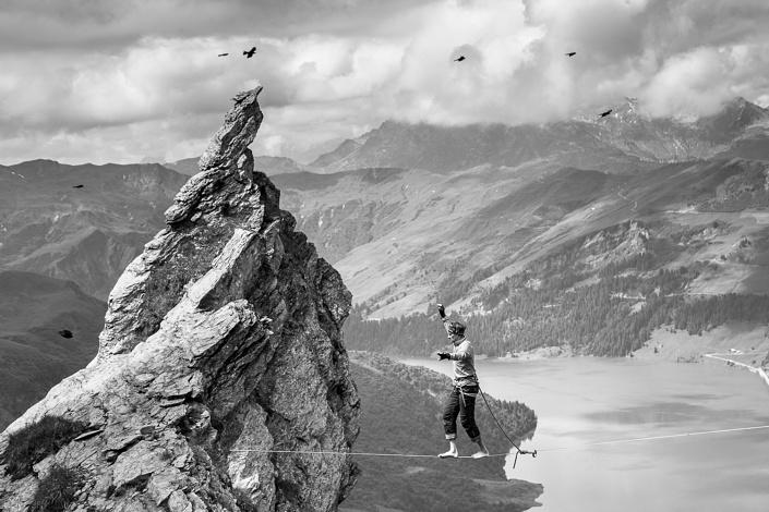 Highline au Roc du Vent - Beaufortain, Savoie