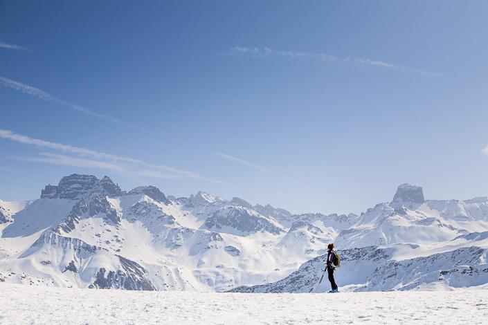 Ski de randonnée, vu sur la Roche Parstire, Arêches-Beaufort