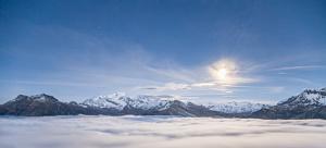 Mont-Blanc et mer de nuage au clair de lune - Savoie, France