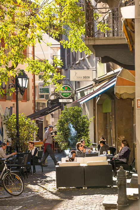 Centre ville de Sion, Suisse.